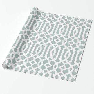 Modelo imperial azul y blanco gris del enrejado papel de regalo