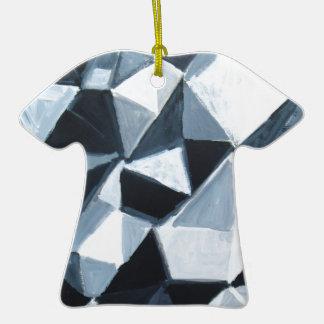 Modelo irregular del triángulo en blanco y negro ornamentos de navidad