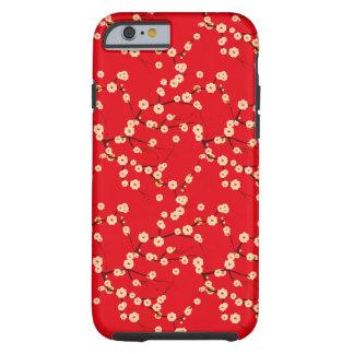 Modelo japonés rojo y blanco de las flores de funda de iPhone 6 tough