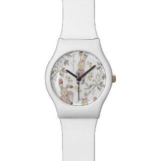 Modelo lindo de la acuarela de los conejitos de reloj de pulsera