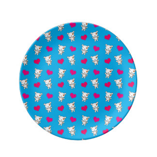 Modelo lindo de los corazones del perro del azul d plato de cerámica