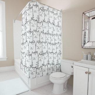Modelo lindo de los gatos del dibujo animado cortina de baño