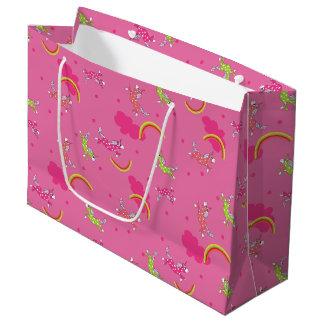 Modelo lindo del dibujo animado del rosa de arco bolsa de regalo grande
