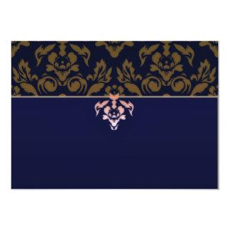 Modelo marrón expresivo del damasco invitación 12,7 x 17,8 cm