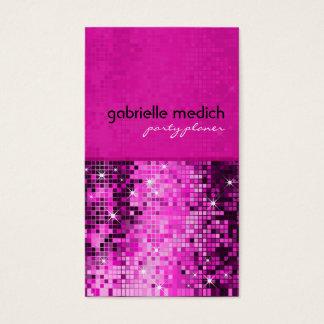 Modelo metálico de la secuencia del brillo rosado tarjeta de negocios
