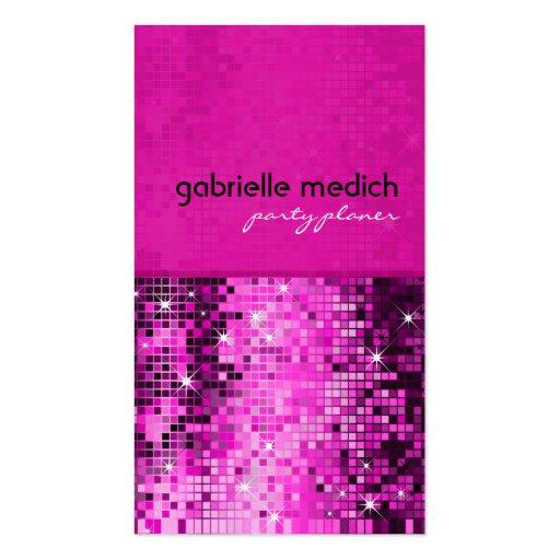 Modelo metálico de la secuencia del brillo rosado  tarjetas de visita