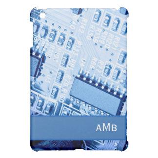 Modelo moderno de la placa madre en colores azules