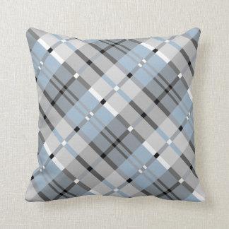 Modelo moderno de la tela escocesa en gris y azul cojín decorativo
