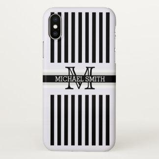 Modelo moderno de las rayas negras del monograma funda para iPhone x