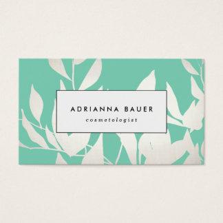 Modelo moderno elegante de las hojas de la plata y tarjeta de visita