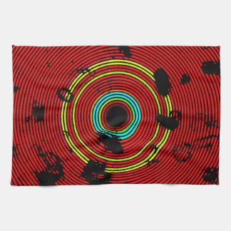 Modelo multicolor rojo de la textura del disco del toalla de cocina