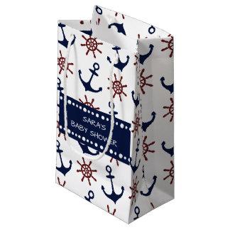 Modelo náutico del timón del ancla de los azules bolsa de regalo pequeña