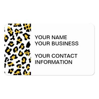 Modelo negro amarillo del estampado de animales de plantillas de tarjetas de visita