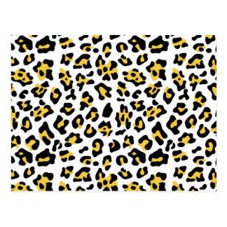 Modelo negro amarillo del estampado de animales de tarjetas postales