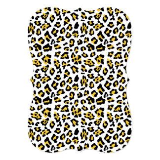 Modelo negro amarillo del estampado de animales invitación 12,7 x 17,8 cm