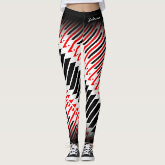 Modelo negro blanco rojo abstracto leggings