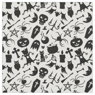 Modelo negro de los elementos de Halloween Tela