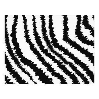 Modelo negro del estampado de zebra folleto 21,6 x 28 cm