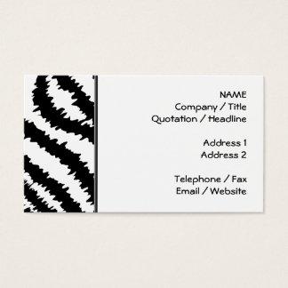Modelo negro del estampado de zebra tarjeta de visita