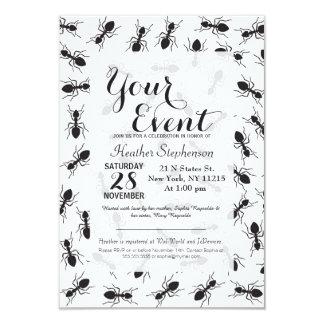 Modelo negro divertido de las hormigas invitación 8,9 x 12,7 cm