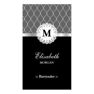 Modelo negro elegante del cordón del camarero tarjetas de visita