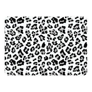 Modelo negro gris del estampado de animales del invitación 12,7 x 17,8 cm