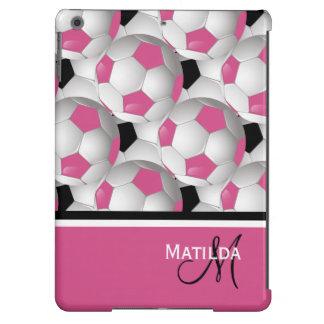 Modelo negro rosado del balón de fútbol del funda para iPad air