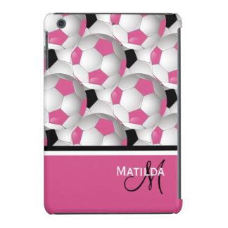 Modelo negro rosado del balón de fútbol del funda para iPad mini retina