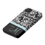 Modelo negro y blanco elegante del damasco con el  Case-Mate iPhone 4 coberturas
