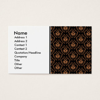 Modelo negro y marrón elegante del damasco tarjeta de negocios