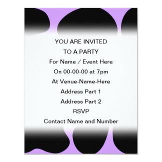 Modelo negro y púrpura de la impresión de la vaca invitación 10,8 x 13,9 cm