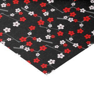 Modelo negro y rojo de la flor de cerezo papel de seda