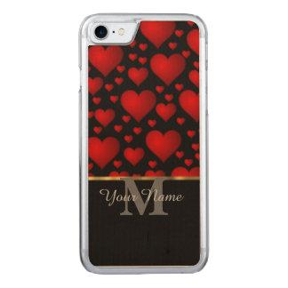 Modelo negro y rojo del corazón del amor del funda para iPhone 7 de carved