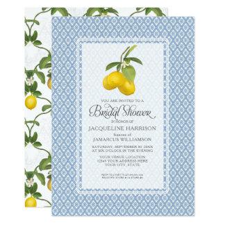 Modelo nupcial del enrejado del limón del jardín invitación 12,7 x 17,8 cm