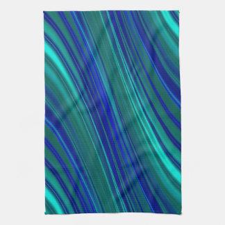 Modelo ondulado azul de la raya toallas de mano