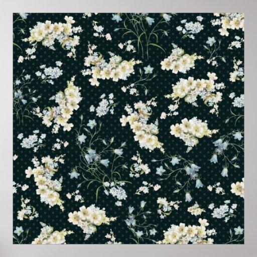 Modelo oscuro del papel pintado de la flor del vin posters