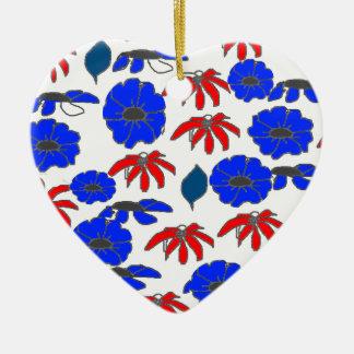 Modelo patriótico azul blanco rojo del mélange adorno de cerámica en forma de corazón