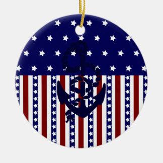 Modelo patriótico del marinero del ancla de las ornamento para reyes magos