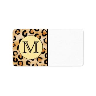 Modelo personalizado del estampado leopardo del mo etiqueta de dirección