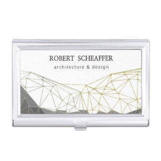 Modelo profesional geométrico poligonal moderno caja de tarjetas de presentación