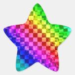 Modelo punky retro del control del arco iris 80s calcomanías forma de estrellaes