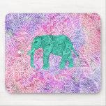Modelo púrpura de la alheña del elefante tribal de alfombrilla de ratón