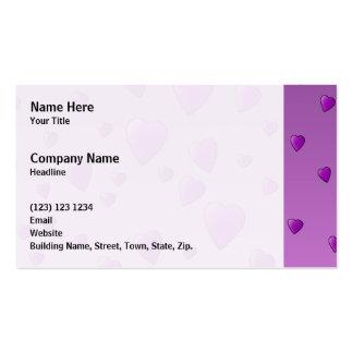 Modelo púrpura de los corazones del amor tarjetas de visita