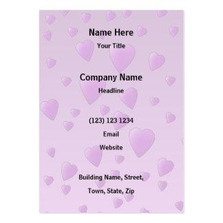 Modelo púrpura de los corazones del amor tarjetas de visita grandes
