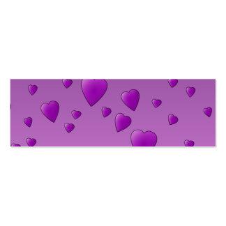 Modelo púrpura de los corazones del amor tarjetas de visita mini