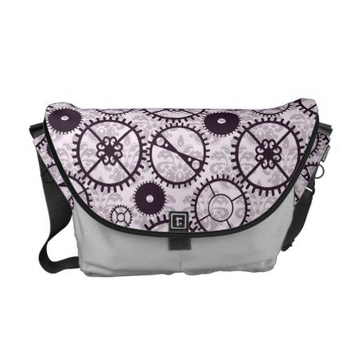 Modelo púrpura del engranaje y del damasco del rel bolsa de mensajeria
