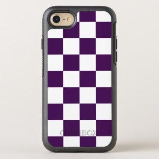 Modelo púrpura y blanco del tablero de damas funda OtterBox symmetry para iPhone 8/7