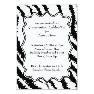 Modelo Quinceanera del estampado de zebra Invitación 12,7 X 17,8 Cm