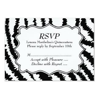 Modelo Quinceanera del estampado de zebra Invitación 8,9 X 12,7 Cm