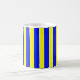 Modelo rayado amarillo y azul Coloured Taza De Café